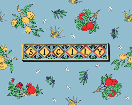 Seamless pattern with fruits on a branch, shells and elements of the island of Sicily. Can be used as print on textiles and wrapping paper