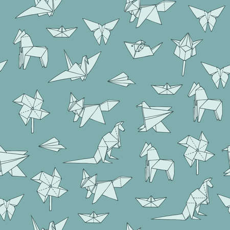 Seamless pattern with hand-drawn origami shapes. Can be used as print on textiles and wrapping paper