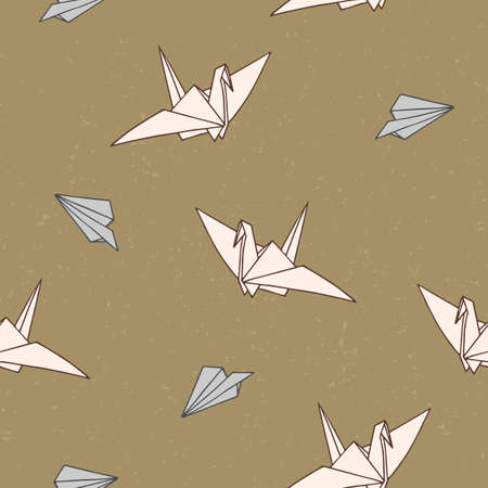 Seamless pattern with hand-drawn origami swan and plane shapes. Can be used as print on textiles and wrapping paper  イラスト・ベクター素材