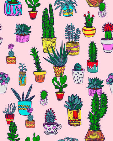 Seamless pattern with cacti. Houseplants. Can be used as print on textiles and wrapping paper
