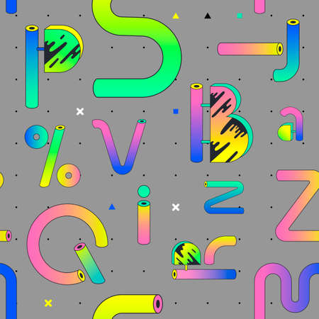 Seamless pattern of signs, letters and symbols in the memphis style. The pattern can be printed in wrapping paper, fabric, clothing  イラスト・ベクター素材
