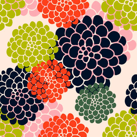 Seamless pattern with large abstract flowers. Ornamet can be suitable for bedding, wrapping paper, fabric