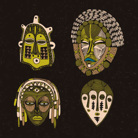 Collection of hand-drawn ethnic masks. Deities and spirits of the peoples of the world