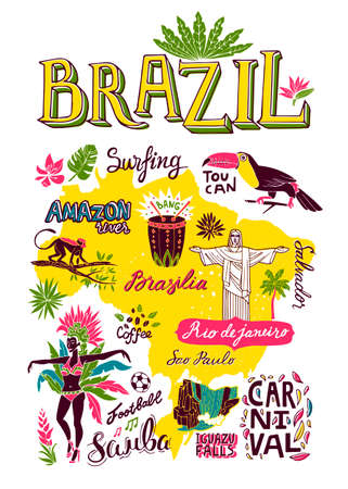 Illustrated hand-drawn typographic poster about Brazil. Travel and attractions. Souvenir print  イラスト・ベクター素材