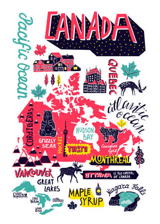 Illustrated hand-drawn typographic poster about Canada. Travel and attractions. Souvenir print  イラスト・ベクター素材