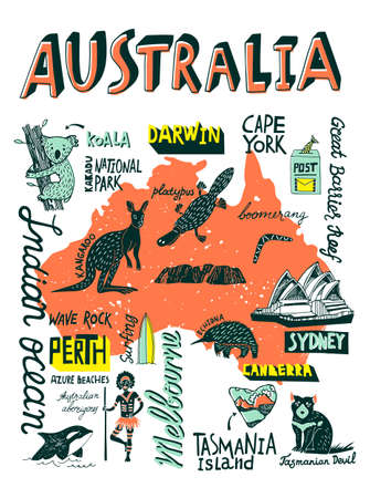 Illustrated hand-drawn typographic poster about Australia. Travel and attractions. Souvenir print