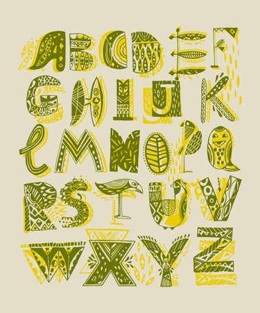 Decorative animalistic alphabet in Scandinavian style. Alphabet for colorful headings