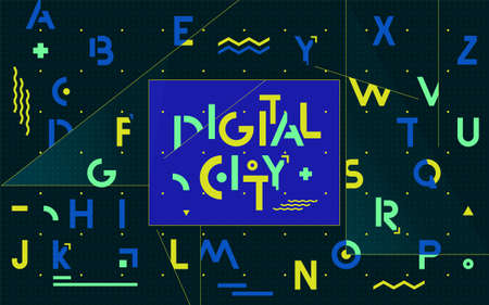Modernist alphabet. Digital city. Abstract typographic banner with letters and simple geometric shapes  イラスト・ベクター素材