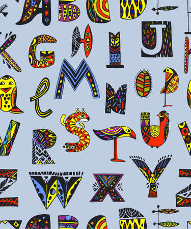 Seamless pattern from decorative animal letters. Print for wrapping paper, fabric and gift wrapping