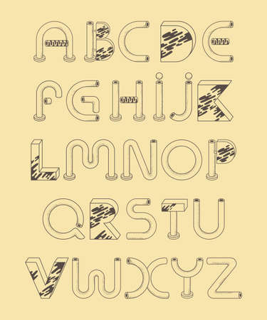 Decorative tubular alphabet in retro style. Suitable for headings and headings  イラスト・ベクター素材