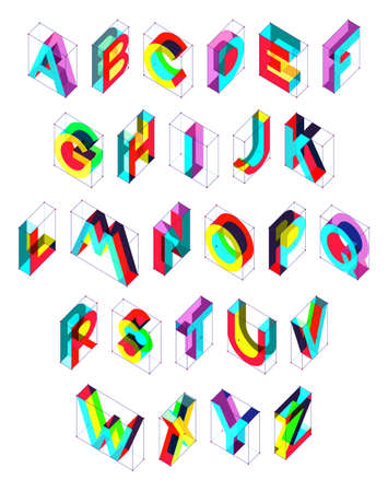 Isometric vector font. Engineering style alphabet for posters and headings.