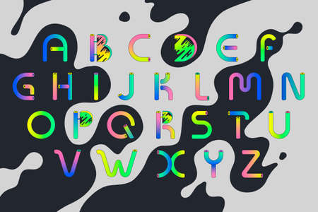 Decorative bright alphabet in memphis style. Gradient letters from plastic tubes  イラスト・ベクター素材