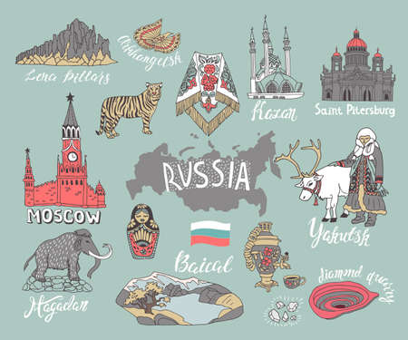 Set of hand drawn landmarks of Russia. Vector set of icons with national elements and symbols.