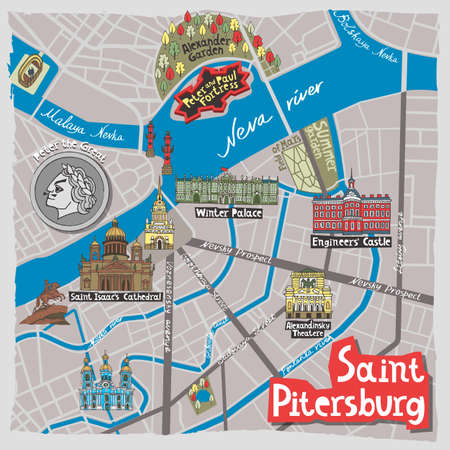 Set of hand drawn landmarks of St. Petersburg, Russia.  set of icons with national elements and symbols. 矢量图像