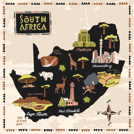 Illustrated map of South Africa. Set of national symbols and elements of architecture and culture Vetores