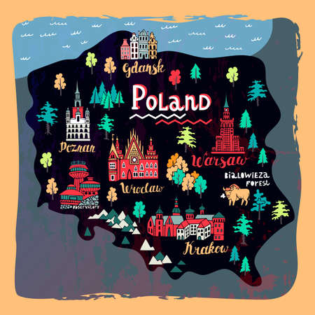Illustrated map of Poland. Set of national symbols and elements of architecture and culture Ilustração