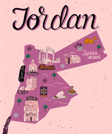 Illustrated map of attractions of Jordan. Culture and national color of the country