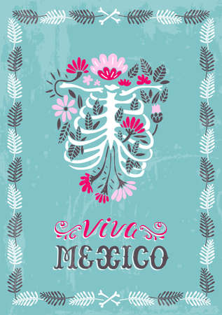 Viva Mexico. Illustrated vector template in Mexican style. Heart and cross. Suitable for postcards, posters, clothing prints