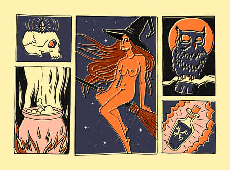 Hand drawn comic book style illustration with a witch. Halloween. Print for t-shirts, invitations, cards, clothes, bags, posters Illusztráció
