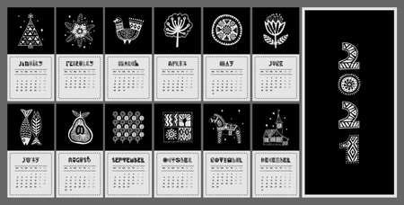 Illustrated black and white calendar for 2021 in Scandinavian style. Set of postcards