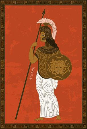 Ancient Greek mythology. Goddess Pallas Athena. Vector illustration in the style of Greek vase painting. Ilustración de vector