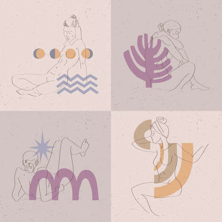 A collection of linear sketches of a woman's body. Set of vector spring cards for International Women's Day.