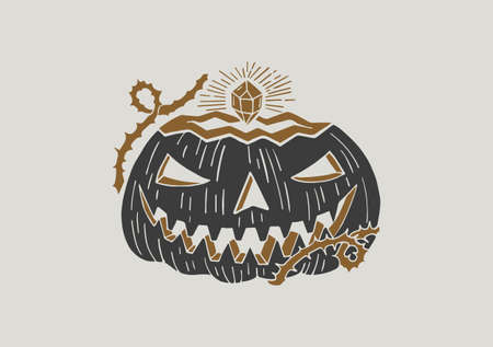Black and white illustration with a sinister pumpkin. Day of the Dead. Halloween. Drawing for souvenirs and tattoo