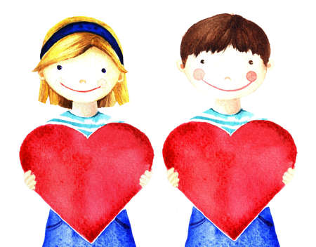 hands in: Little pretty beautiful smiling girl holding big red heart in his hands. Watercolor hand painted illustration isolated on white. Charity evening, declaration of love. For banner, card, website, poster Stock Photo
