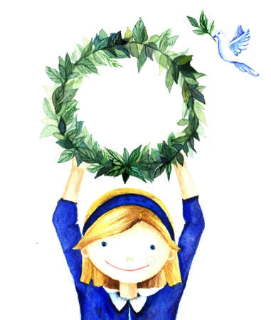 broshure: Pretty cute smiling little girl holding a circle wreath frame of branches with leaves. Watercolor charity illustration for banners, greeting cards, website, broshure. Stock Photo