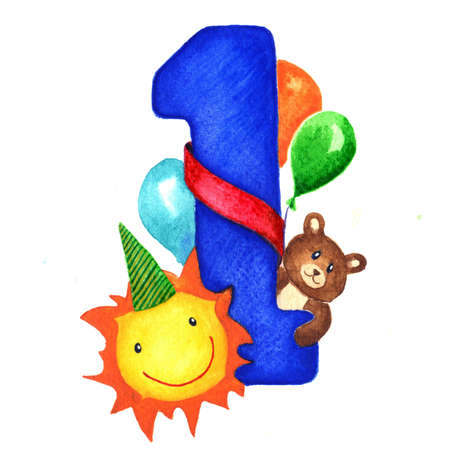 Greeting card with a big blue number one for birthday baby boy. Next to the figure toys, sun and balloons congratulating baby. Children illustration isolated hand painted watercolor on white background. Archivio Fotografico