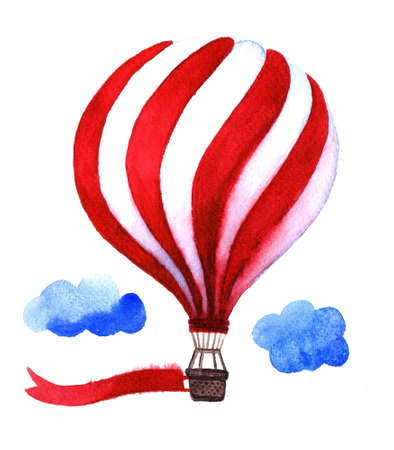 charity collection: Watercolor hot air balloon. Hand drawn vintage air balloons with flag. Illustration isolated on white background. Celebration festive background with balloons. Perfect for invitations,posters and cards