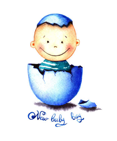 Funny little baby boy was born from an egg hatched. Newborn child watercolor illustration for greeting card, sticker, poster, banner. Isolated on white background. Hand painted watercolor drawing. Stock Photo