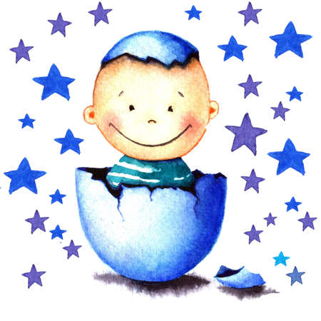 Funny little baby boy was born from an egg hatched. Newborn child watercolor illustration for greeting card, sticker, poster, banner. Isolated on stars background. Hand painted watercolor drawing.