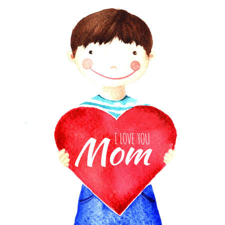 love mom: Beauty smiling boy holding a big red heart with words in his hands. I love you mom. Isolated watercolor drawing on a white background. Greeting card, declaration of love, banner, print, poster, sticker.