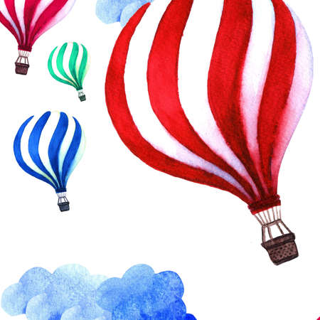 free place: Hot air balloons in the clouds background. Vintage watercolor hot air balloon with place for your message - greeting card design. Hot air balloon FREE DELIVERY sign Stock Photo