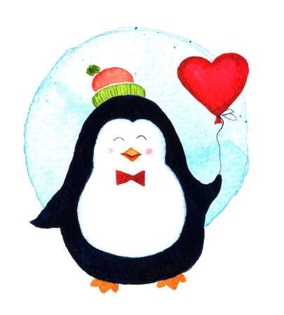 fondo para bebe: pingüino de la historieta para los bebés y niños pequeños. personaje de dibujos animados de pingüinos. Pájaro divertido. Ilustración de la acuarela aislado en el fondo blanco