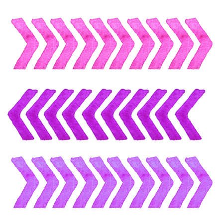 background next: Collection of watercolor design elements isolated on white background. Watercolor set of isolated lavender stripes. Watercolor paper background with tribal ikat Stock Photo