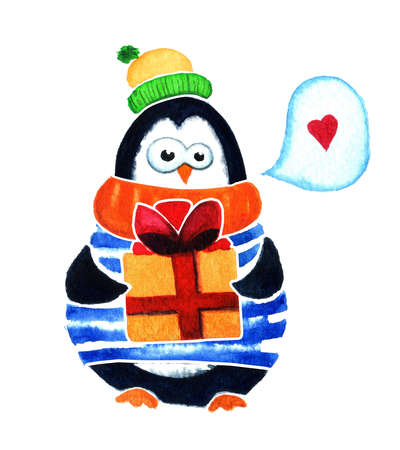 fondo para bebe: pingüino de la historieta para los bebés y niños pequeños. pingüino lindo sueña con el amor. personaje de dibujos animados de pingüinos con el regalo y la burbuja corazón. Pájaro divertido. Ilustración de la acuarela aislado en el fondo blanco