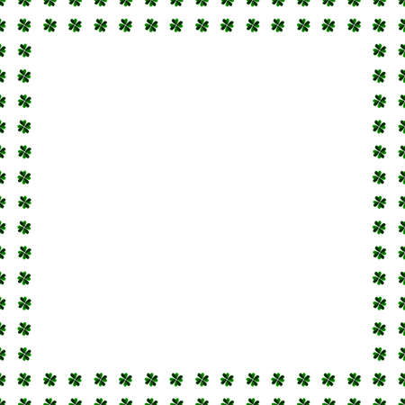 clover background: Illustration for luck spring design with shamrock. Green clover border, frame isolated on white background. Watercolor green four-leaf clover background. St. Patrick Day template greeting card.