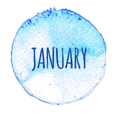Blue watercolor circle with word January isolated on a white background. Watercolor. Sticker, label, round shape with the name of the month of January