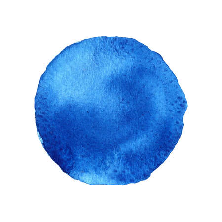 Dark Blue circle shape painted with watercolors isolated on a white background. Watercolor abstract Dark Blue Background. Sample trendy colors 2017.