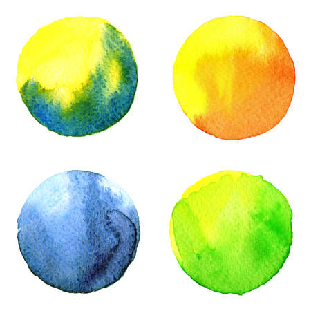 burgundy: Set of colorful watercolor hand painted circle isolated on white. Watercolor Illustration for artistic design. Round stains, blobs of blue, red, green, brown
