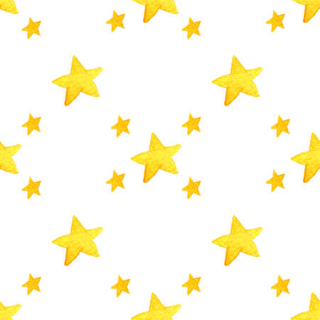 Yellow watercolor stars background Isolated on white background. Yellow and green stars. Hand painted watercolor drawing.