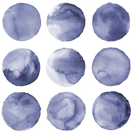 Watercolor circles collection gray colors. Watercolor stains set isolated on white background. Design elements. Seamless retro geometric pattern Stock Photo