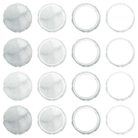 ebon: Watercolor hand painted circle shape design elements. Grey banners set. Watercolor stains set isolated on white background. Stock Photo