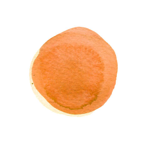 Burnt carrot orange circle shape with space for text. Watercolor orange, yellow round background with uneven edges. Watercolour stains abstract texture.