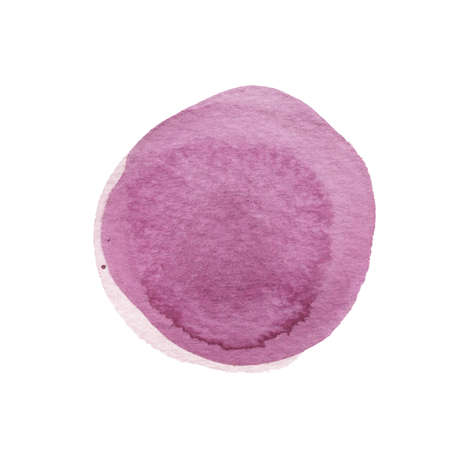 fandango: Dark pink, violet watercolor circle isolated on white. Abstract round background. Lavender, orchid, watercolour stains texture. Hand drawn lilac spot. Plum circle with uneven edges. Light pastel colors. Stock Photo