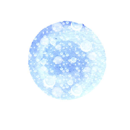 Abstract round background in shades of blue with splashes of white. Winter watercolor circle with falling snow dots texture isolated on white. Christmas modern background with empty space for text. Stock Photo