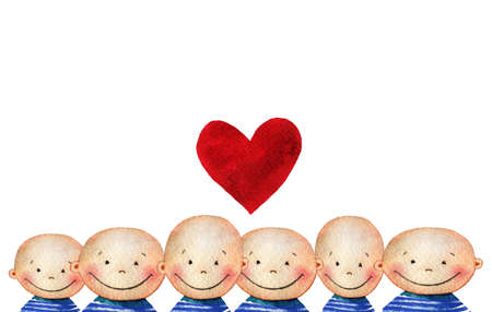 Crowd of cute smiling boys in blue striped T-shirt with heart. Watercolor background with a crowd of smiling people faces for your design. Hand drawn background with cute happy faces of children. Stock Photo