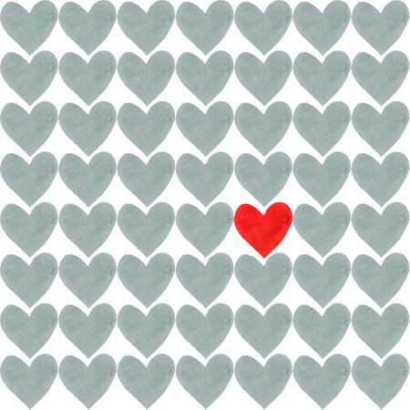 Red heart with a crowd of other grey hearts. Red heart drawn by watercolor and a lot of gray separate hearts around.